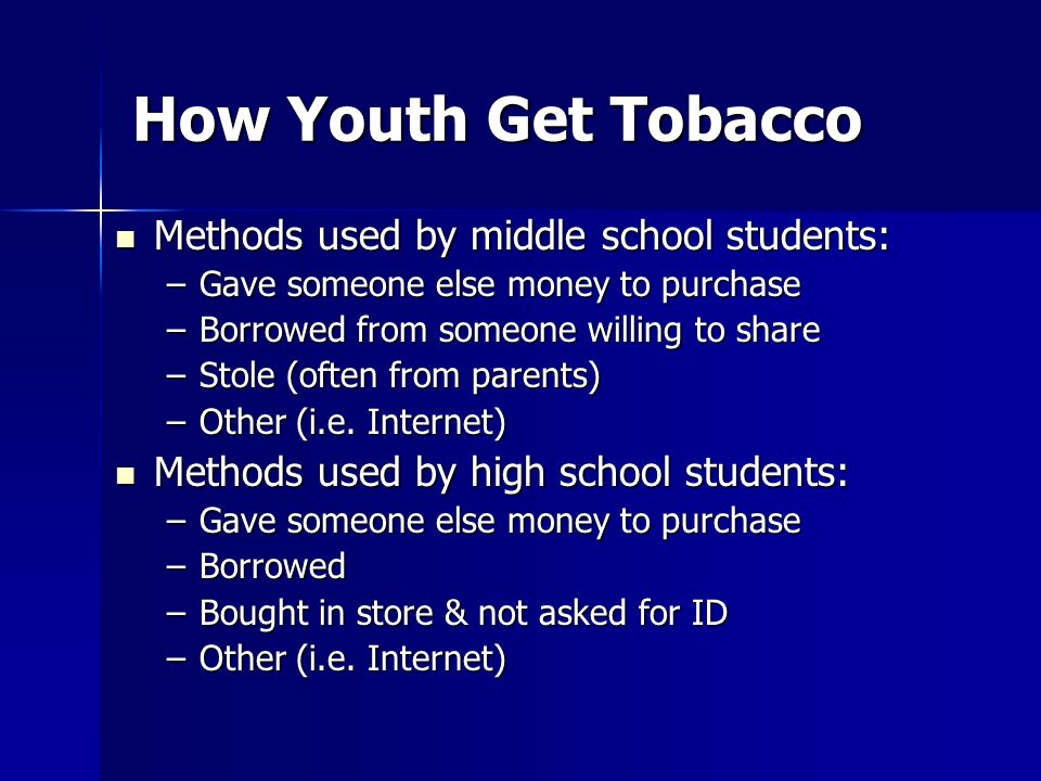 How Youth Get Tobacco Methods used by middle school students: Methods used by middle school students: –Gave someone else money to purchase –Borrowed f