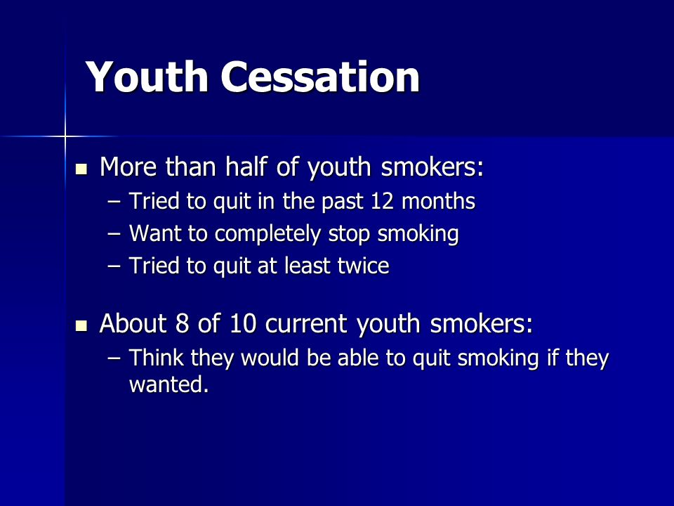 Youth Cessation More than half of youth smokers: More than half of youth smokers: –Tried to quit in the past 12 months –Want to completely stop smokin