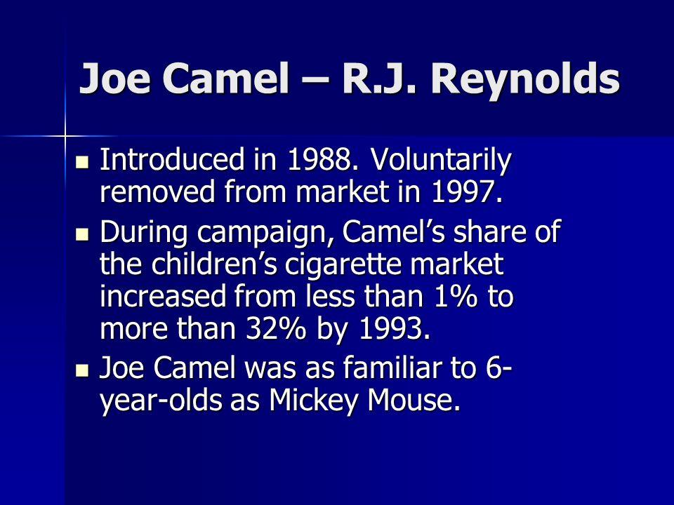 Joe Camel – R.J. Reynolds Introduced in 1988. Voluntarily removed from market in 1997. Introduced in 1988. Voluntarily removed from market in 1997. Du