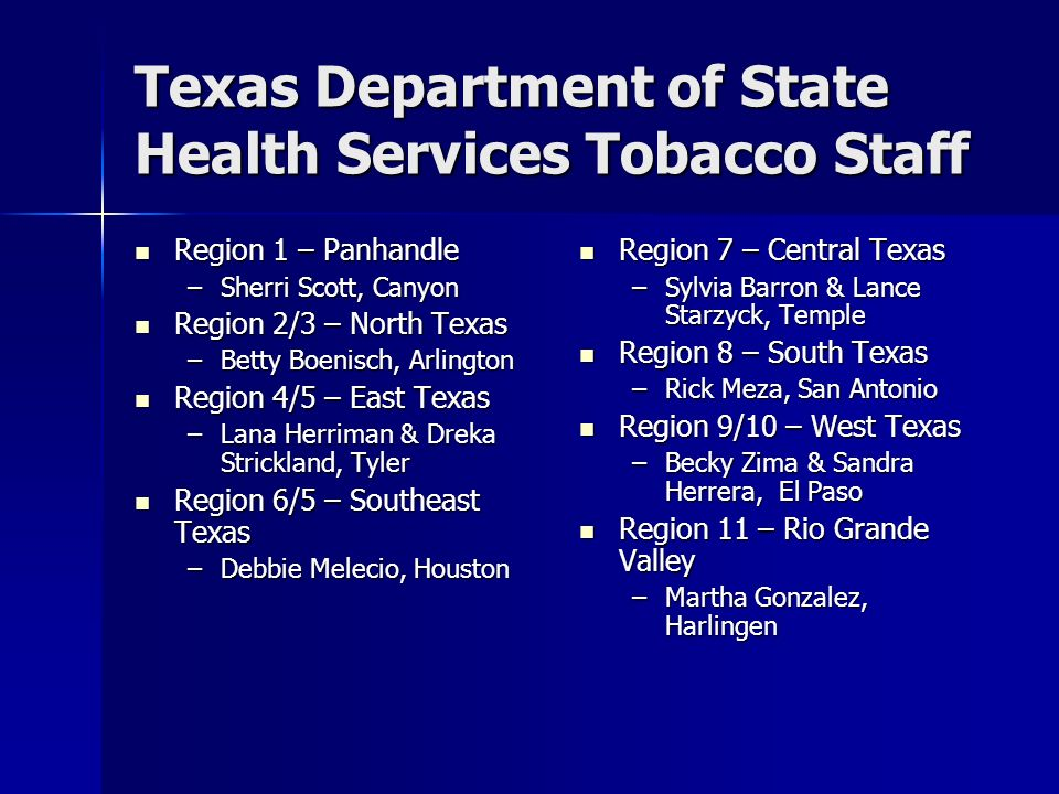 Texas Department of State Health Services Tobacco Staff Region 1 – Panhandle Region 1 – Panhandle –Sherri Scott, Canyon Region 2/3 – North Texas Regio