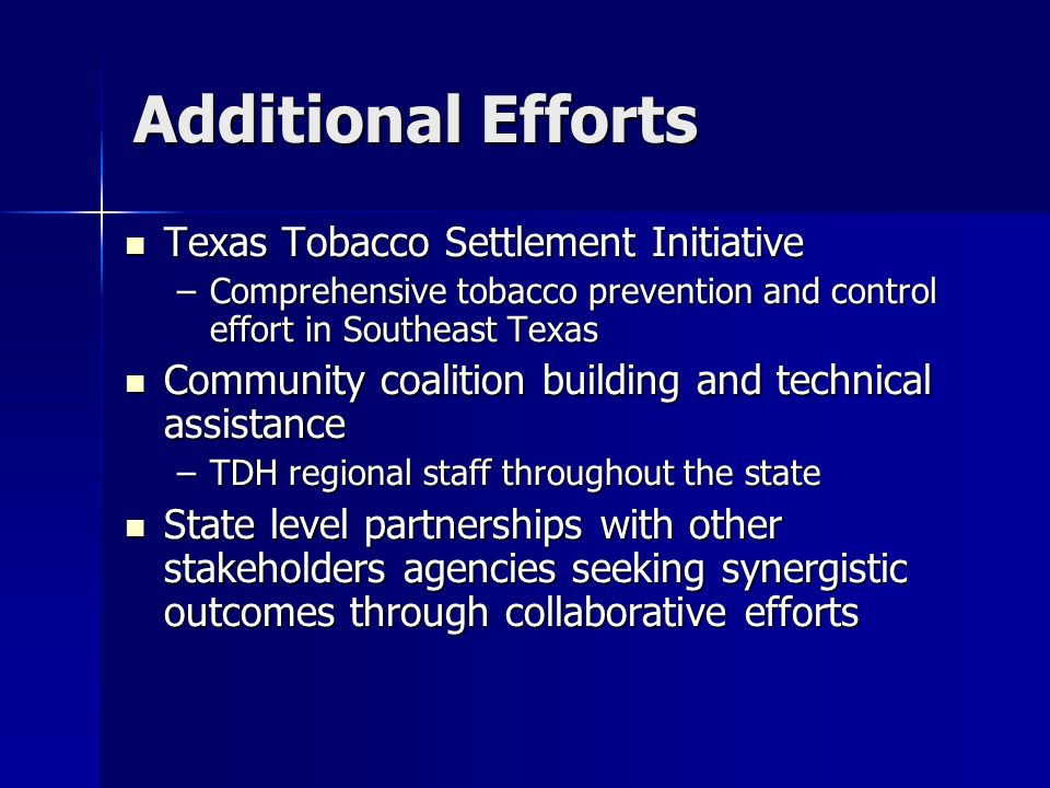 Additional Efforts Texas Tobacco Settlement Initiative Texas Tobacco Settlement Initiative –Comprehensive tobacco prevention and control effort in Sou