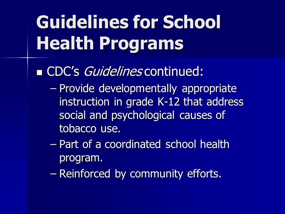 Guidelines for School Health Programs CDCs Guidelines continued: CDCs Guidelines continued: –Provide developmentally appropriate instruction in grade