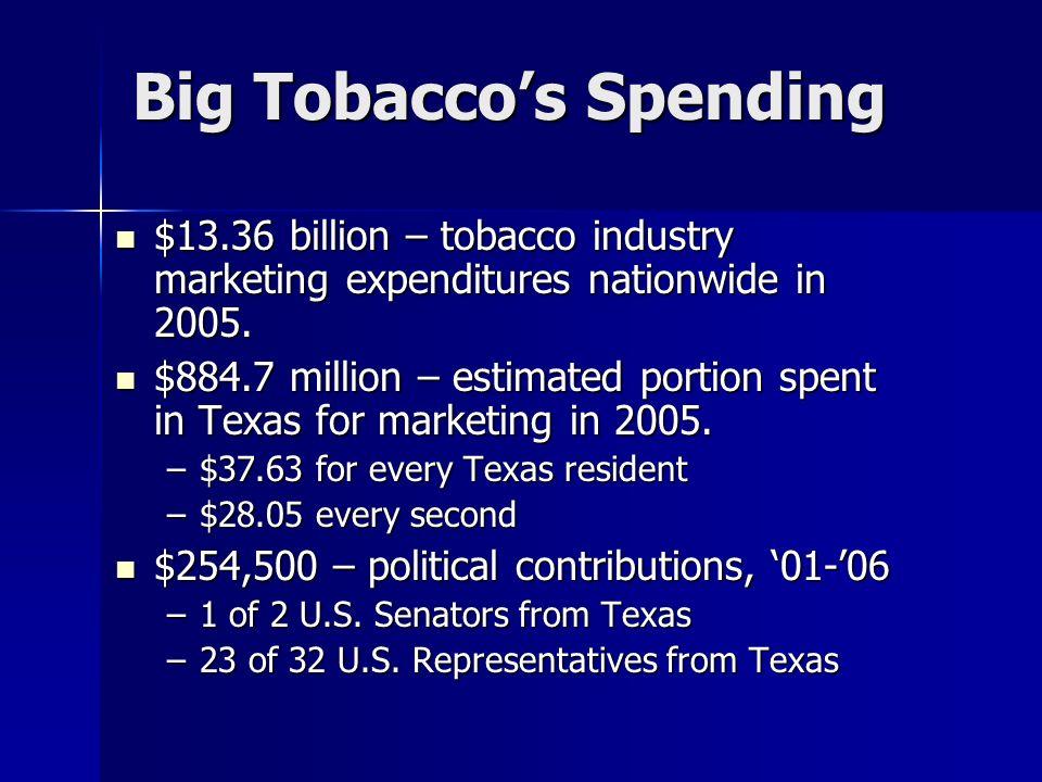 Big Tobaccos Spending $13.36 billion – tobacco industry marketing expenditures nationwide in 2005. $13.36 billion – tobacco industry marketing expendi