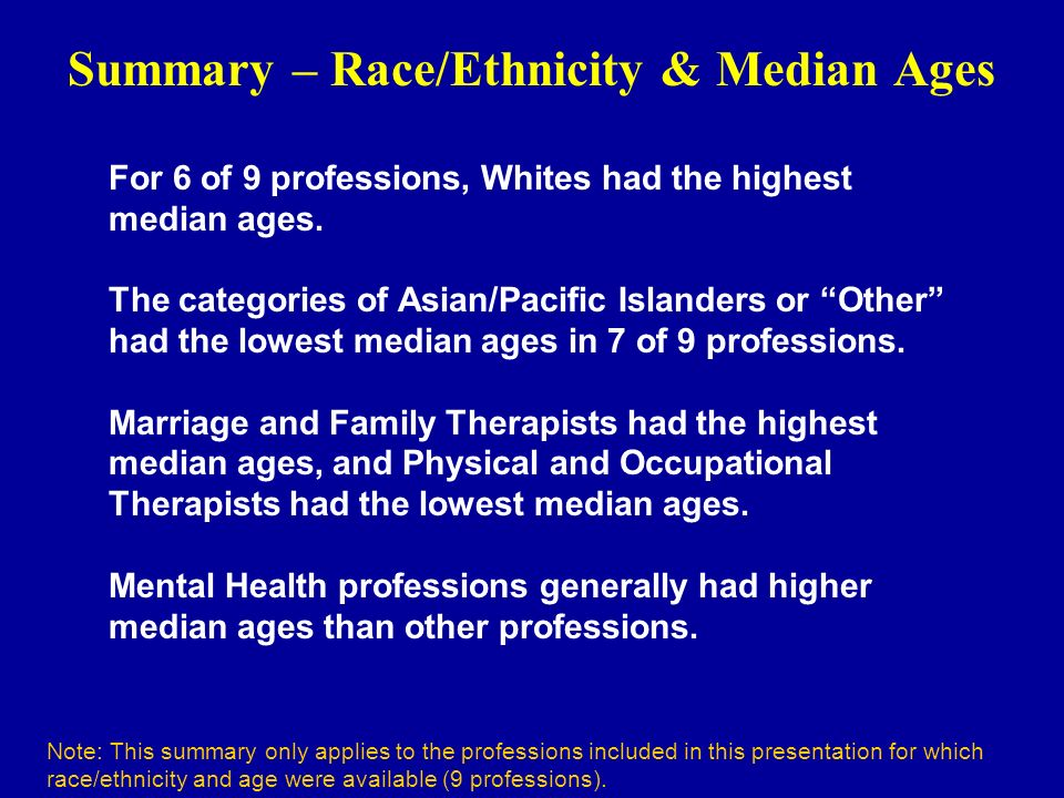Summary – Race/Ethnicity & Median Ages Note: This summary only applies to the professions included in this presentation for which race/ethnicity and age were available (9 professions).