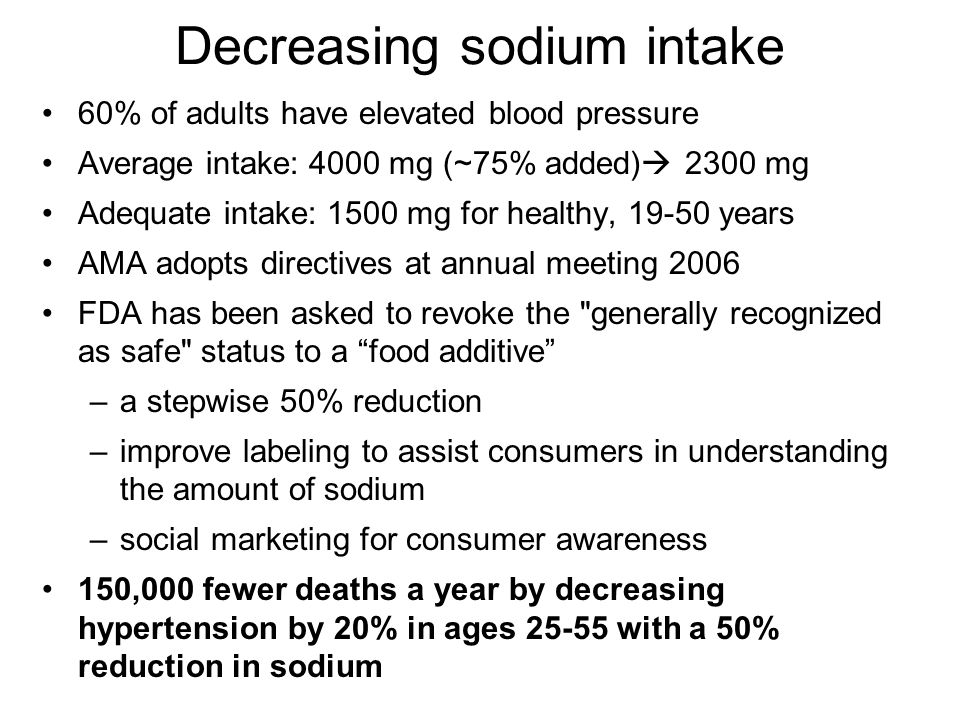 Decreasing sodium intake 60% of adults have elevated blood pressure Average intake: 4000 mg (~75% added) 2300 mg Adequate intake: 1500 mg for healthy, years AMA adopts directives at annual meeting 2006 FDA has been asked to revoke the generally recognized as safe status to a food additive –a stepwise 50% reduction –improve labeling to assist consumers in understanding the amount of sodium –social marketing for consumer awareness 150,000 fewer deaths a year by decreasing hypertension by 20% in ages with a 50% reduction in sodium