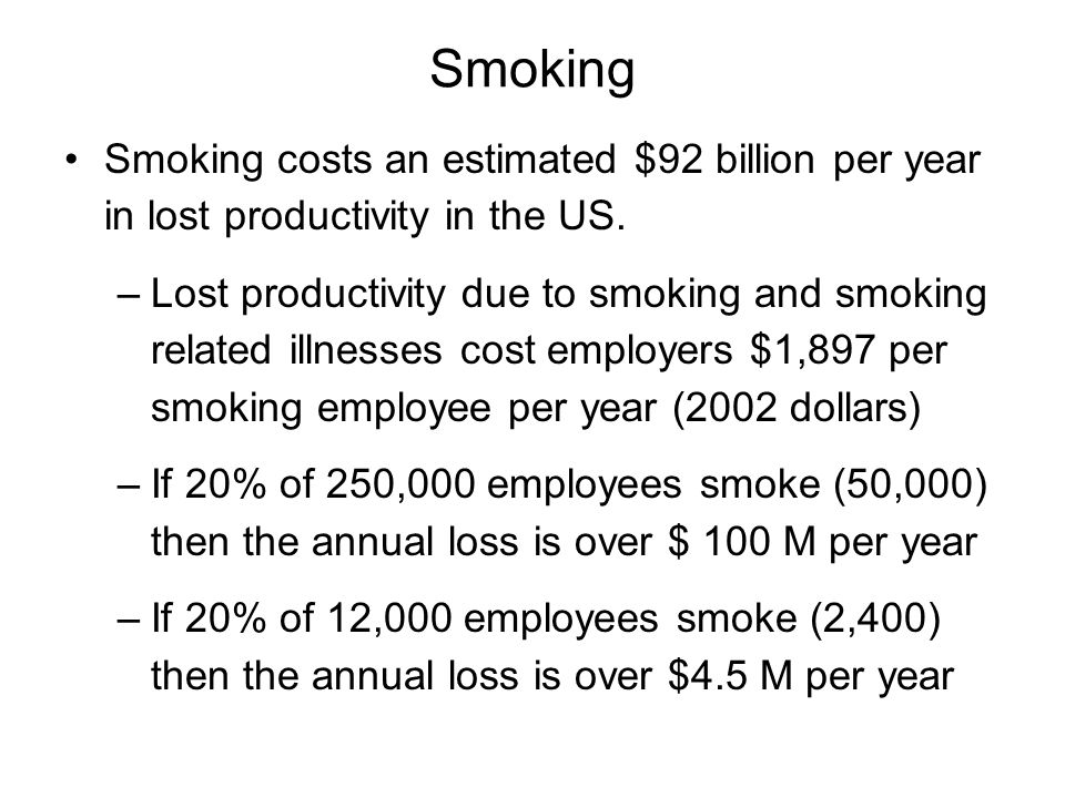 Smoking Smoking costs an estimated $92 billion per year in lost productivity in the US.
