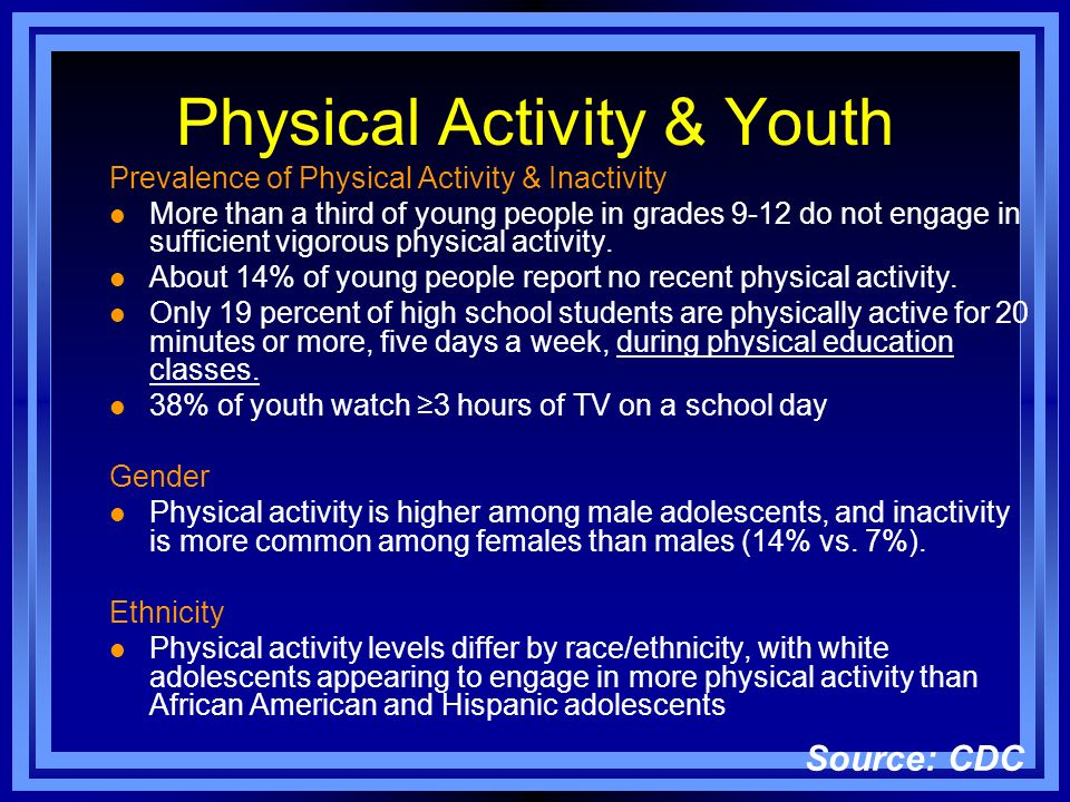 Physical Activity & Youth Prevalence of Physical Activity & Inactivity l More than a third of young people in grades 9-12 do not engage in sufficient