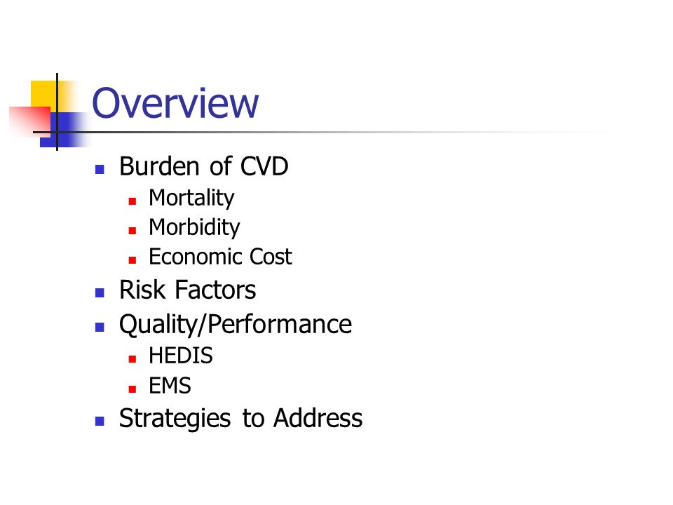 Overview Burden of CVD Mortality Morbidity Economic Cost Risk Factors Quality/Performance HEDIS EMS Strategies to Address