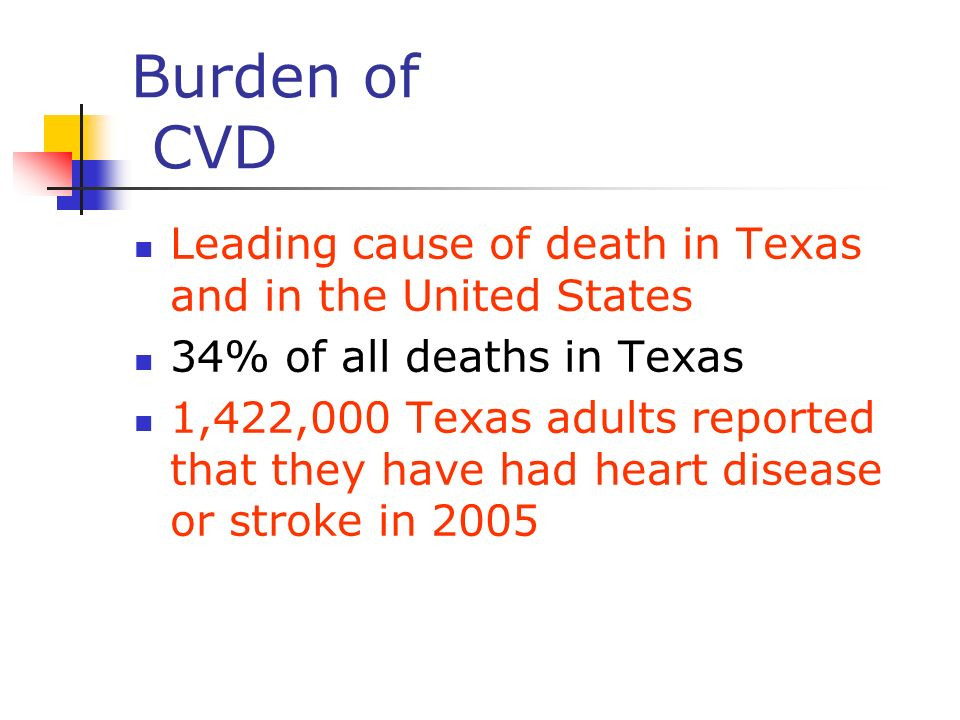 Burden of CVD Leading cause of death in Texas and in the United States 34% of all deaths in Texas 1,422,000 Texas adults reported that they have had h