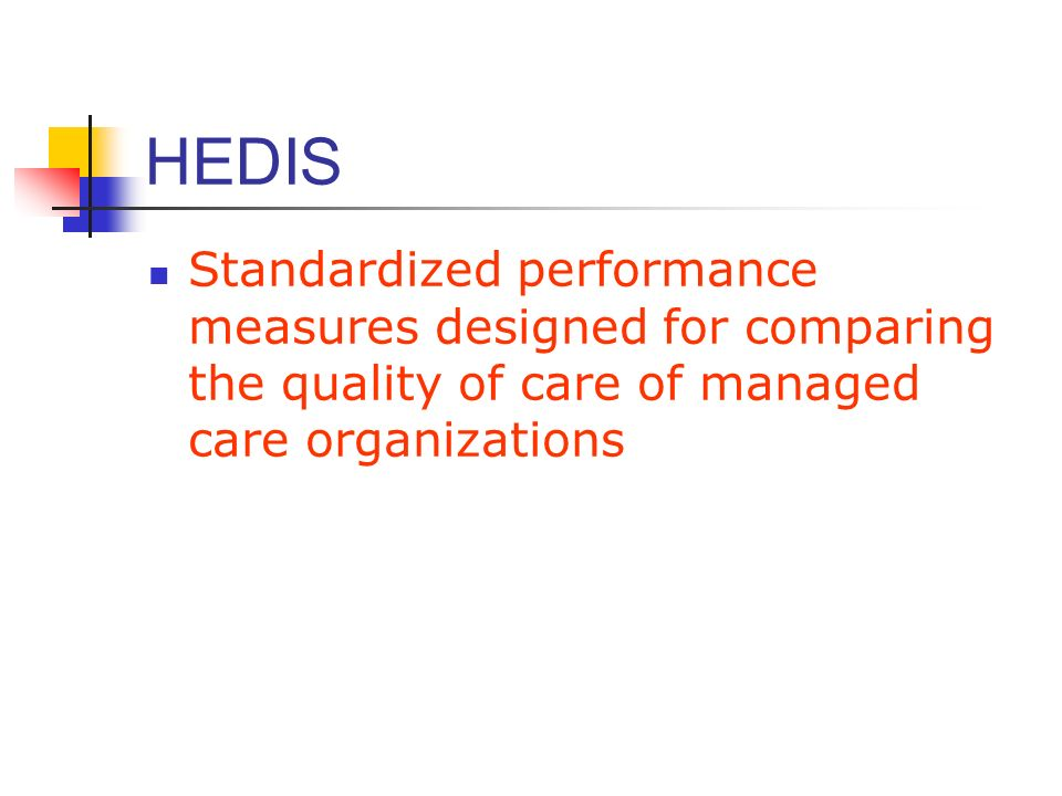 HEDIS Standardized performance measures designed for comparing the quality of care of managed care organizations