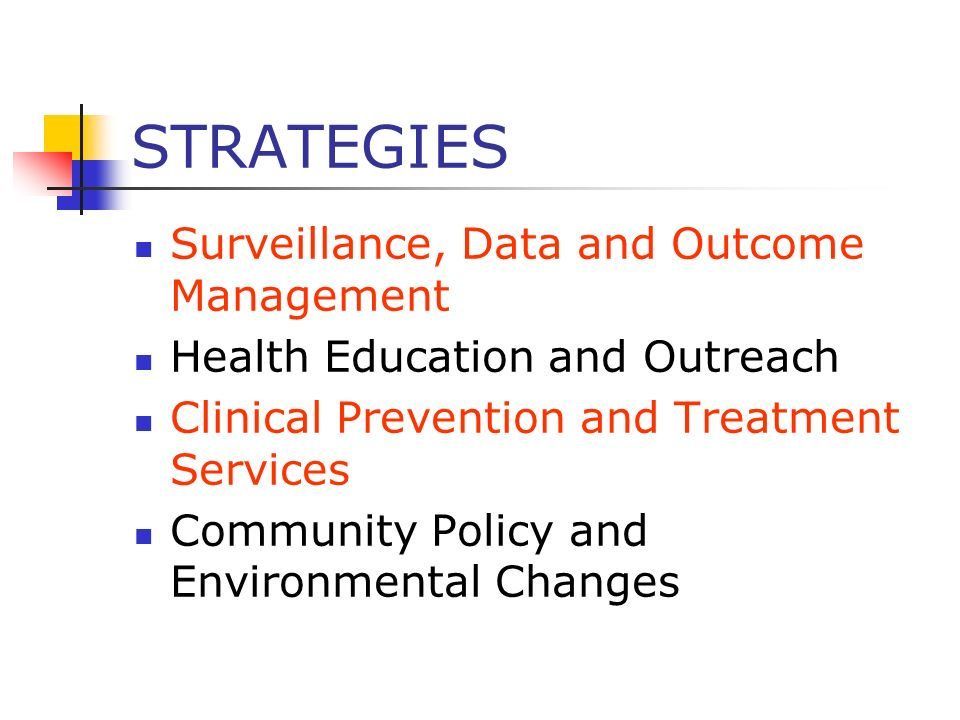 STRATEGIES Surveillance, Data and Outcome Management Health Education and Outreach Clinical Prevention and Treatment Services Community Policy and Env