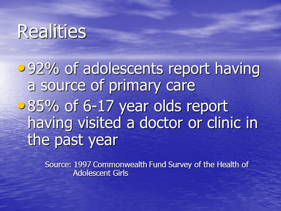 Adolescent Vaccination Platforms 14-15 year platform 14-15 year platform –Catch up on missed vaccinations –Complete multiple dose vaccination regimens –Coincides with need for sports physicals