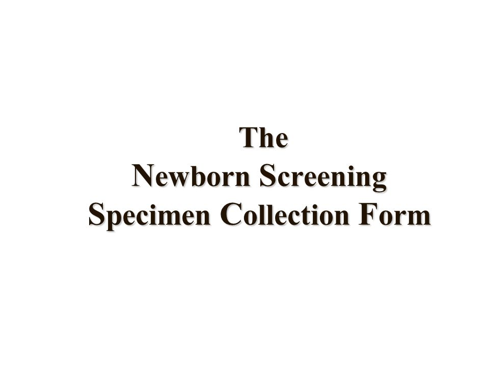 Texas Newborn Screening Table of Contents: The Specimen Collection Form Blood Sample Collection The Voice Response System
