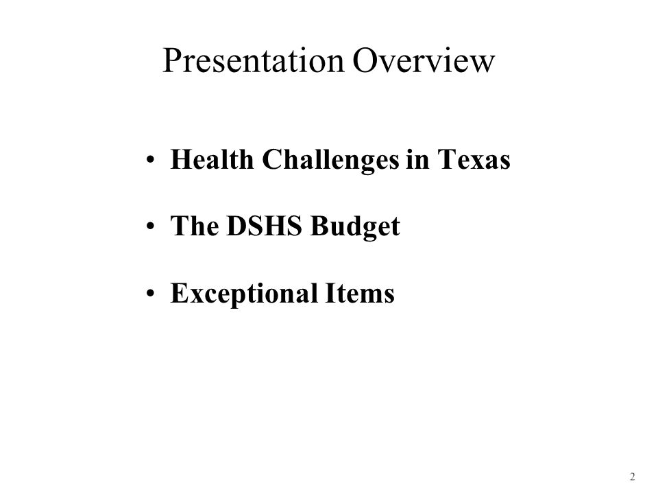 13 Exceptional Items Stakeholder meetings In priority order, ranked according to: –Maintaining operating capacity in existing programs –Ensuring compliance with current state and federal requirements –Moving health forward in Texas
