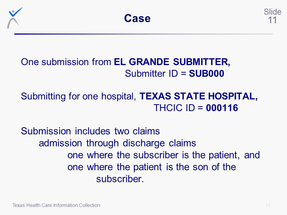 11 Slide 11 Texas Health Care Information Collection One submission from EL GRANDE SUBMITTER, Submitter ID = SUB000 Submitting for one hospital, TEXAS