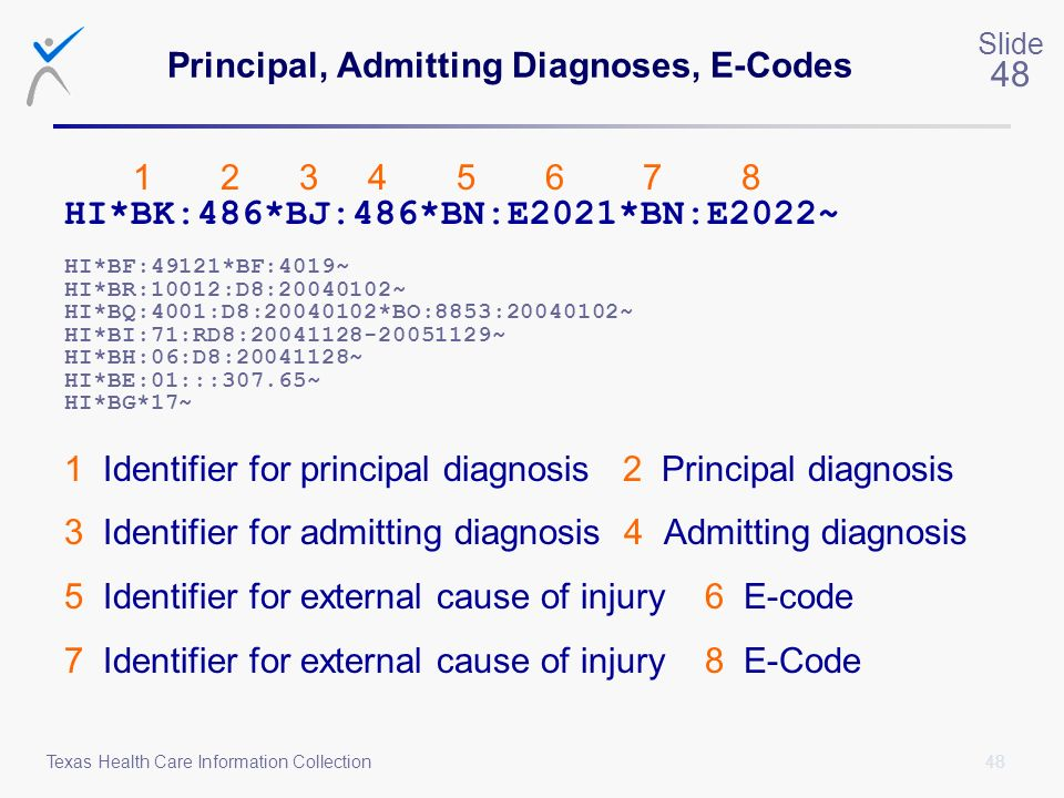 48 Slide 48 Texas Health Care Information Collection Principal, Admitting Diagnoses, E-Codes 1 2 3 4 5 6 7 8 HI*BK:486*BJ:486*BN:E2021*BN:E2022~ HI*BF