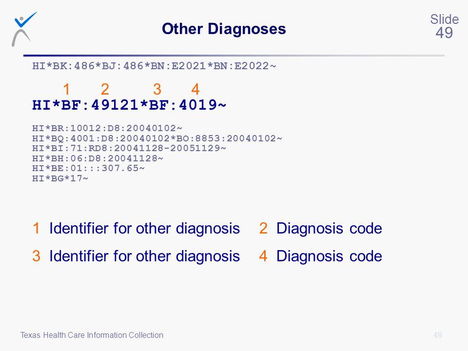 49 Slide 49 Texas Health Care Information Collection Other Diagnoses HI*BK:486*BJ:486*BN:E2021*BN:E2022~ 1 2 3 4 HI*BF:49121*BF:4019~ HI*BR:10012:D8:2