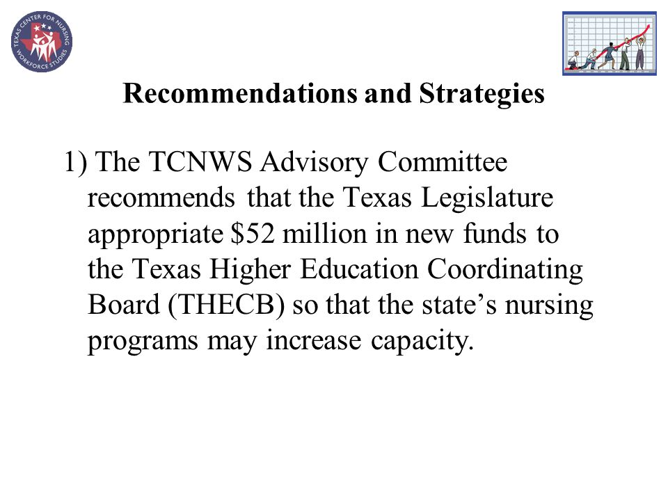 Recommendations and Strategies 1) The TCNWS Advisory Committee recommends that the Texas Legislature appropriate $52 million in new funds to the Texas Higher Education Coordinating Board (THECB) so that the states nursing programs may increase capacity.