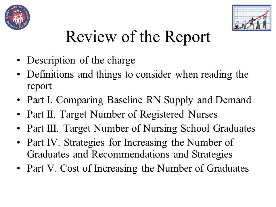 Review of the Report Description of the charge Definitions and things to consider when reading the report Part I.