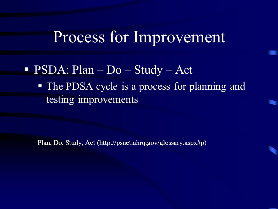 Process for Improvement PSDA: Plan – Do – Study – Act The PDSA cycle is a process for planning and testing improvements Plan, Do, Study, Act (http://psnet.ahrq.gov/glossary.aspx#p)