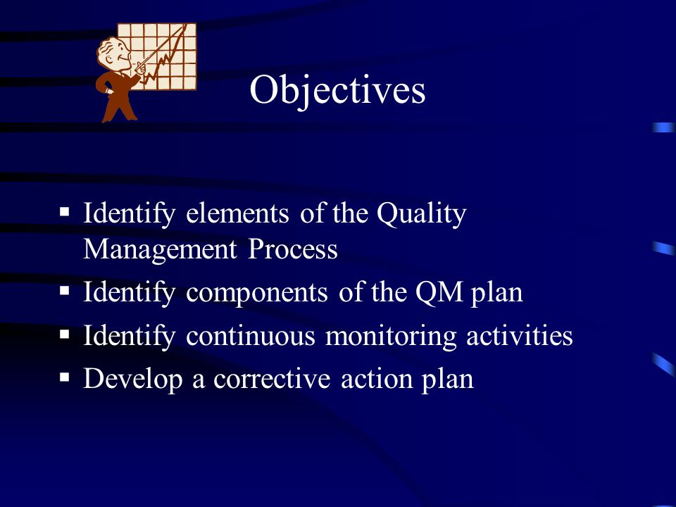 Objectives Identify elements of the Quality Management Process Identify components of the QM plan Identify continuous monitoring activities Develop a corrective action plan