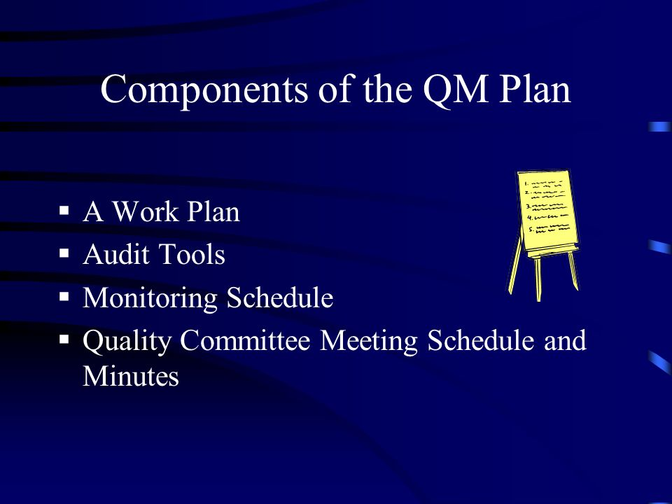 Components of the QM Plan A Work Plan Audit Tools Monitoring Schedule Quality Committee Meeting Schedule and Minutes