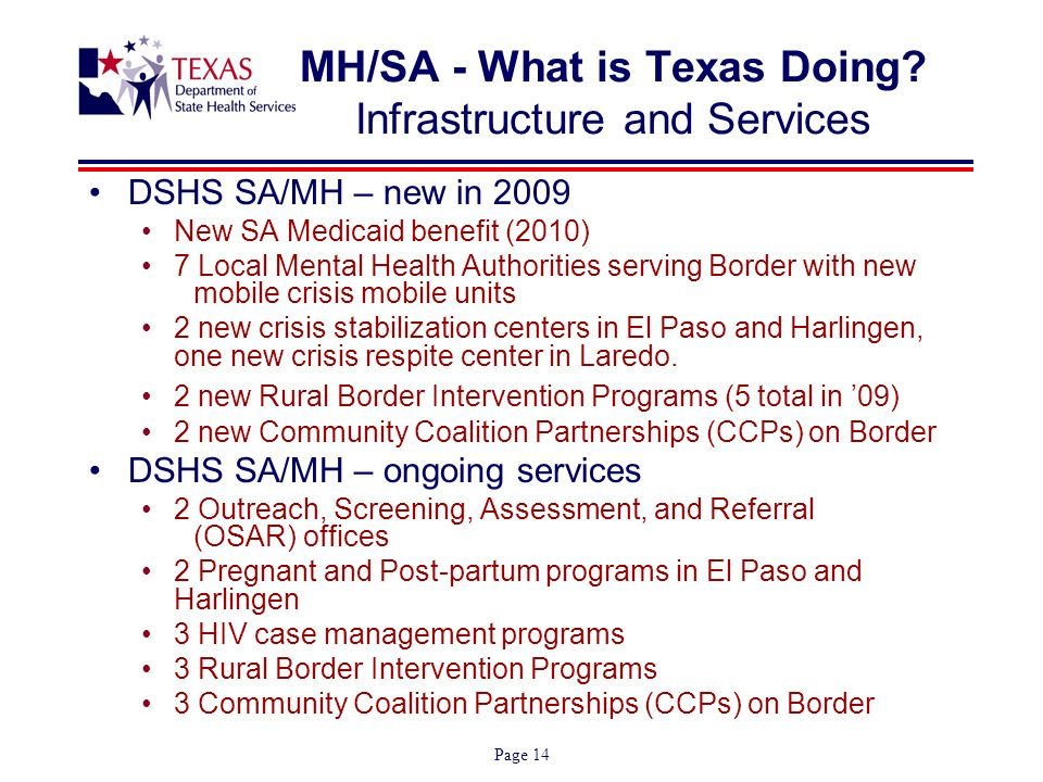 Page 14 MH/SA - What is Texas Doing.