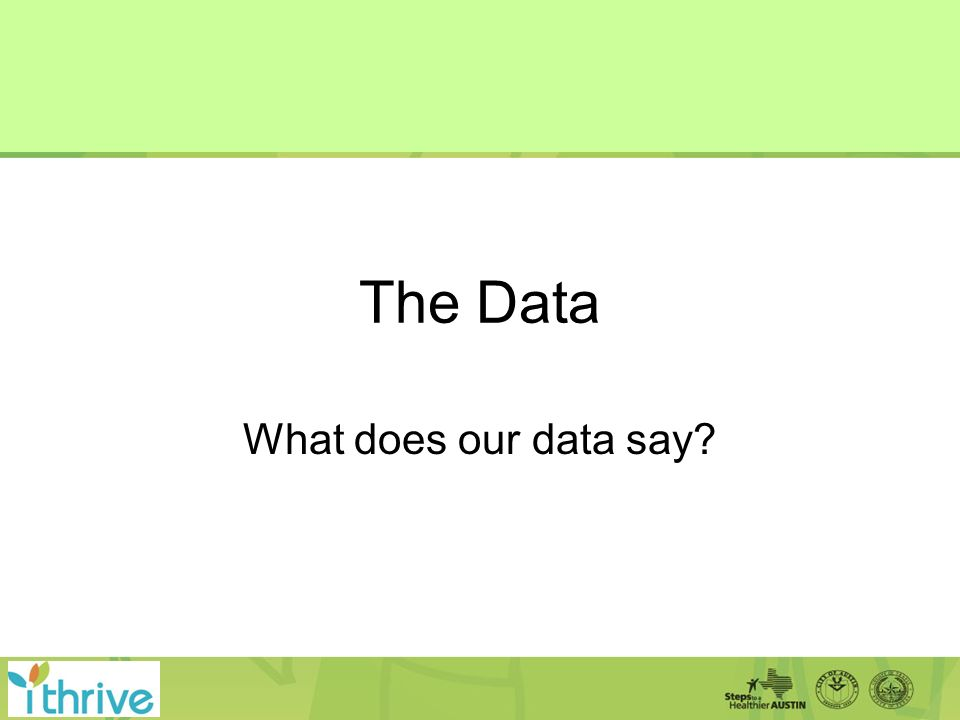 The Data What does our data say?