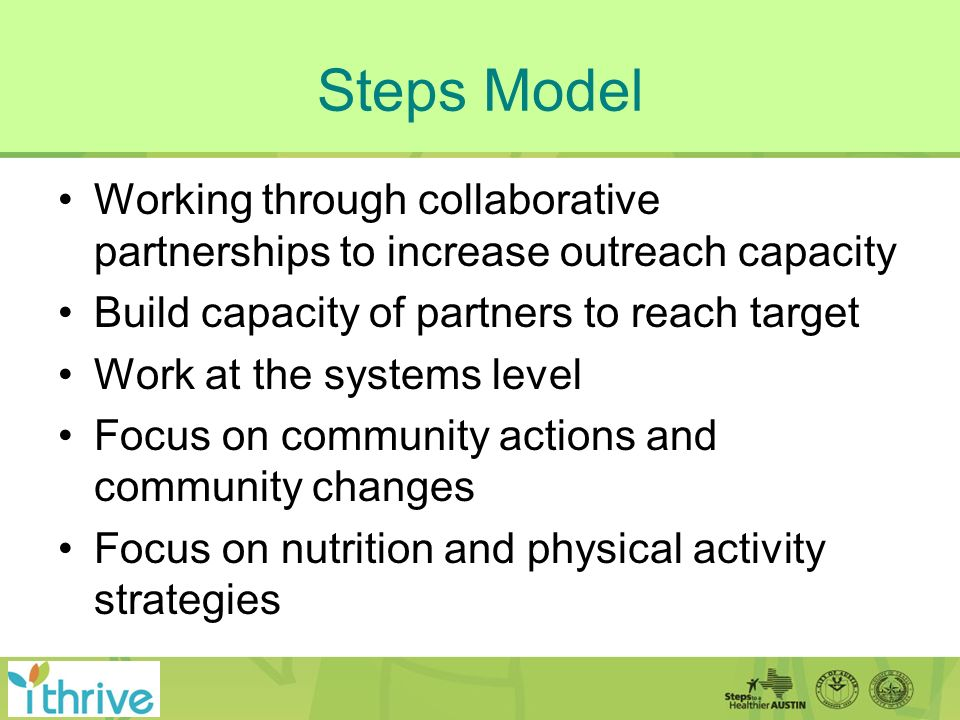 Steps Model Working through collaborative partnerships to increase outreach capacity Build capacity of partners to reach target Work at the systems level Focus on community actions and community changes Focus on nutrition and physical activity strategies