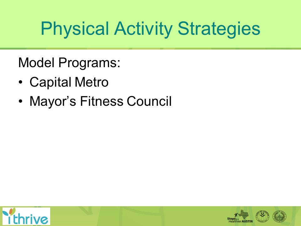 Physical Activity Strategies Model Programs: Capital Metro Mayors Fitness Council