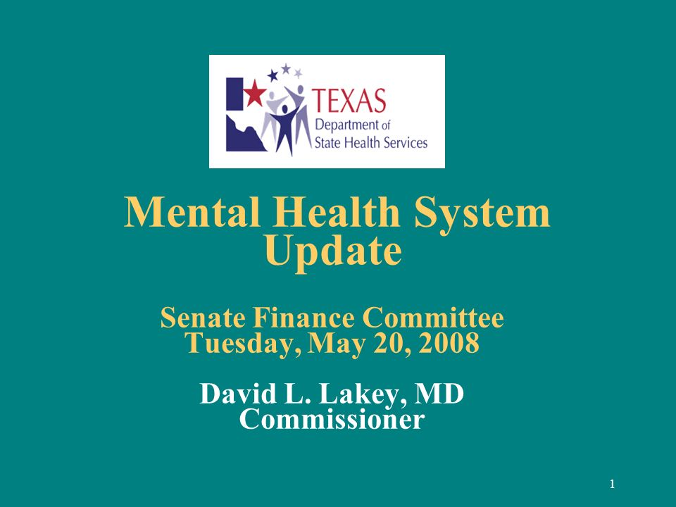 1 Mental Health System Update Senate Finance Committee Tuesday, May 20, 2008 David L. Lakey, MD Commissioner