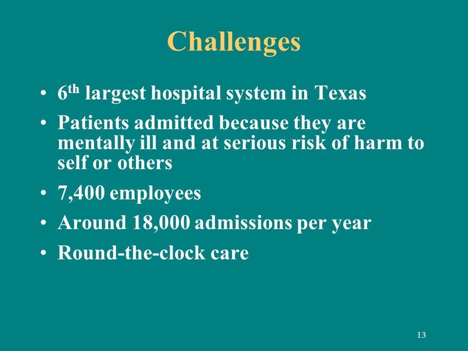 13 Challenges 6 th largest hospital system in Texas Patients admitted because they are mentally ill and at serious risk of harm to self or others 7,40