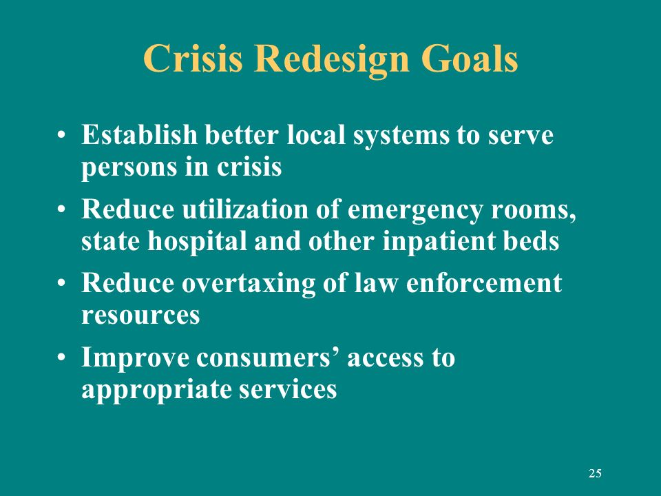 25 Crisis Redesign Goals Establish better local systems to serve persons in crisis Reduce utilization of emergency rooms, state hospital and other inp