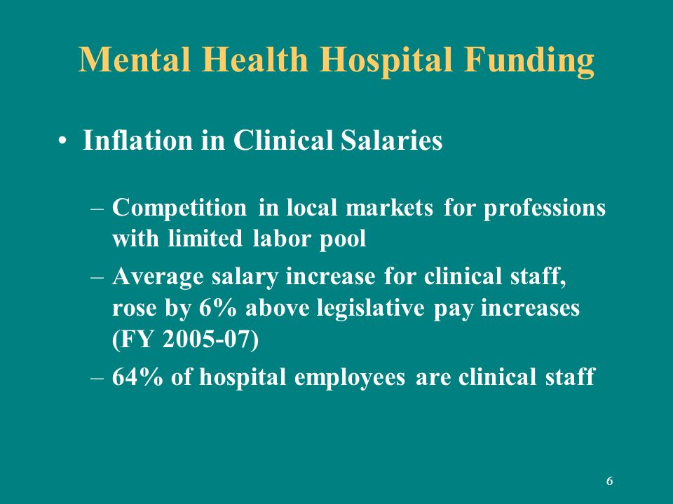 6 Mental Health Hospital Funding Inflation in Clinical Salaries –Competition in local markets for professions with limited labor pool –Average salary