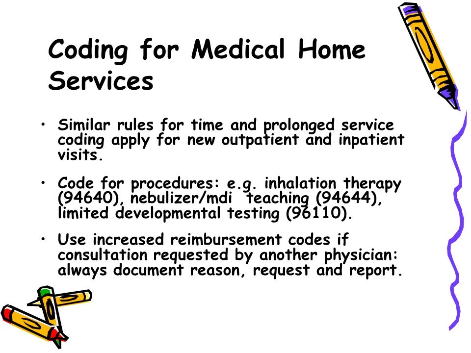 Similar rules for time and prolonged service coding apply for new outpatient and inpatient visits. Code for procedures: e.g. inhalation therapy (94640