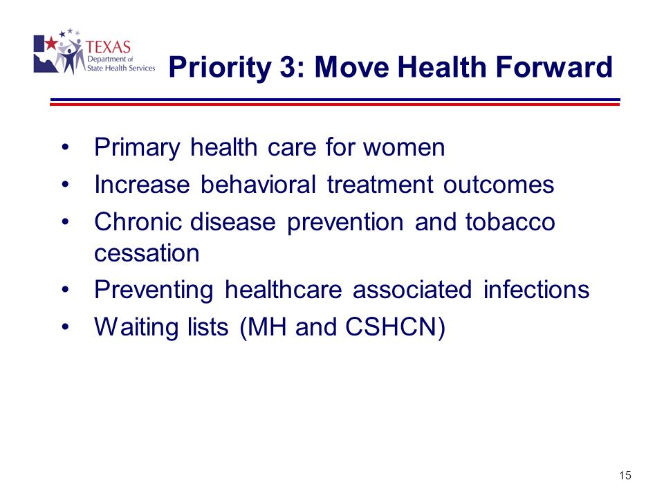 Priority 3: Move Health Forward Primary health care for women Increase behavioral treatment outcomes Chronic disease prevention and tobacco cessation Preventing healthcare associated infections Waiting lists (MH and CSHCN) 15