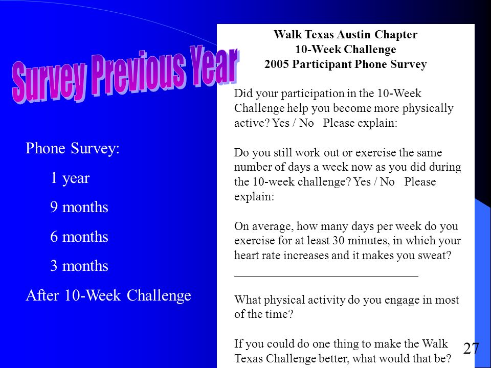 Walk Texas Austin Chapter 10-Week Challenge 2005 Participant Phone Survey Did your participation in the 10-Week Challenge help you become more physically active.