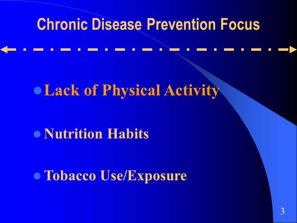 Lack of Physical Activity Nutrition Habits Tobacco Use/Exposure Chronic Disease Prevention Focus 3