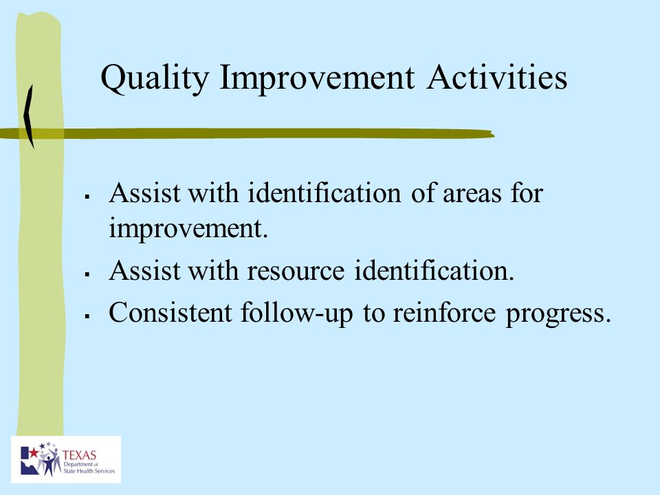 Quality Improvement Activities Assist with identification of areas for improvement.