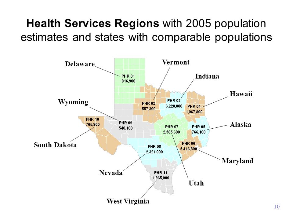 10 Delaware Vermont South Dakota Wyoming Nevada West Virginia Utah Maryland Alaska Hawaii Indiana Health Services Regions with 2005 population estimat