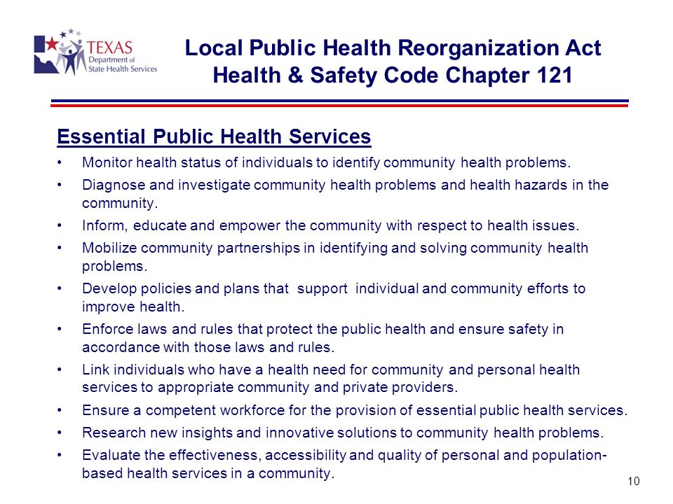 Essential Public Health Services Monitor health status of individuals to identify community health problems.