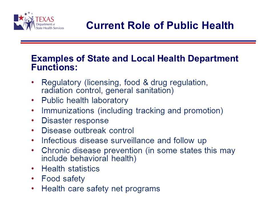 Current Role of Public Health Examples of State and Local Health Department Functions: Regulatory (licensing, food & drug regulation, radiation control, general sanitation) Public health laboratory Immunizations (including tracking and promotion) Disaster response Disease outbreak control Infectious disease surveillance and follow up Chronic disease prevention (in some states this may include behavioral health) Health statistics Food safety Health care safety net programs