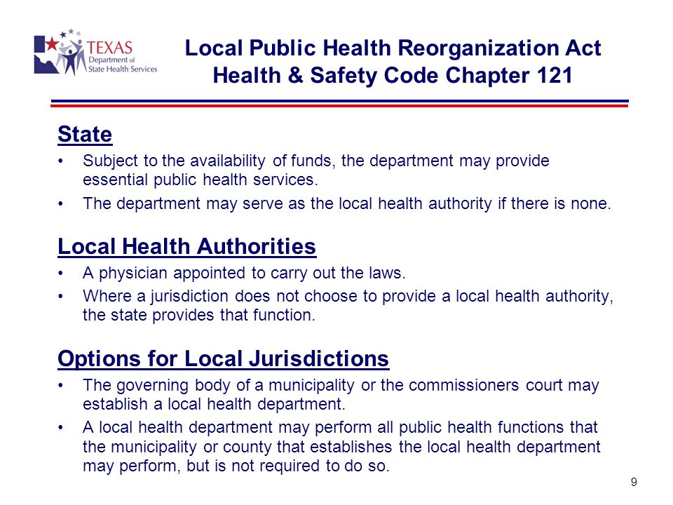9 State Subject to the availability of funds, the department may provide essential public health services.