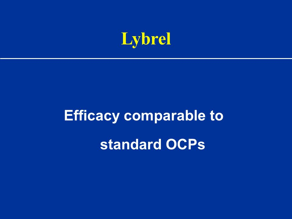 Lybrel Efficacy comparable to standard OCPs