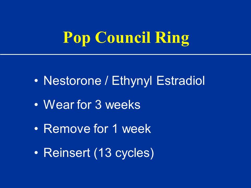 Pop Council Ring Nestorone / Ethynyl Estradiol Wear for 3 weeks Remove for 1 week Reinsert (13 cycles)