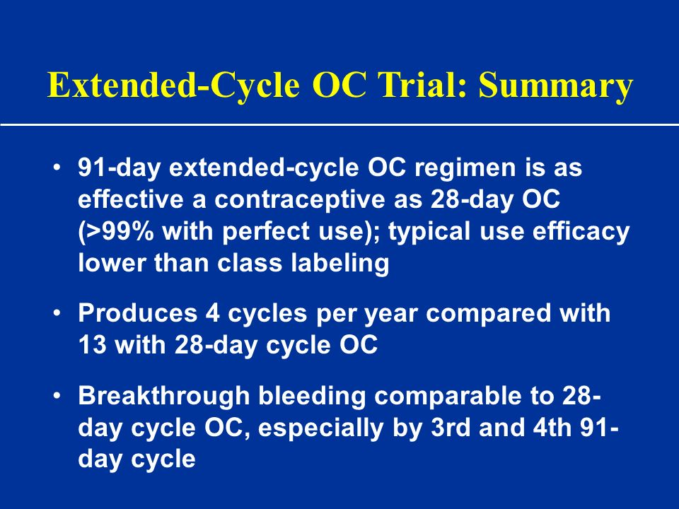 91-day extended-cycle OC regimen is as effective a contraceptive as 28-day OC (>99% with perfect use); typical use efficacy lower than class labeling