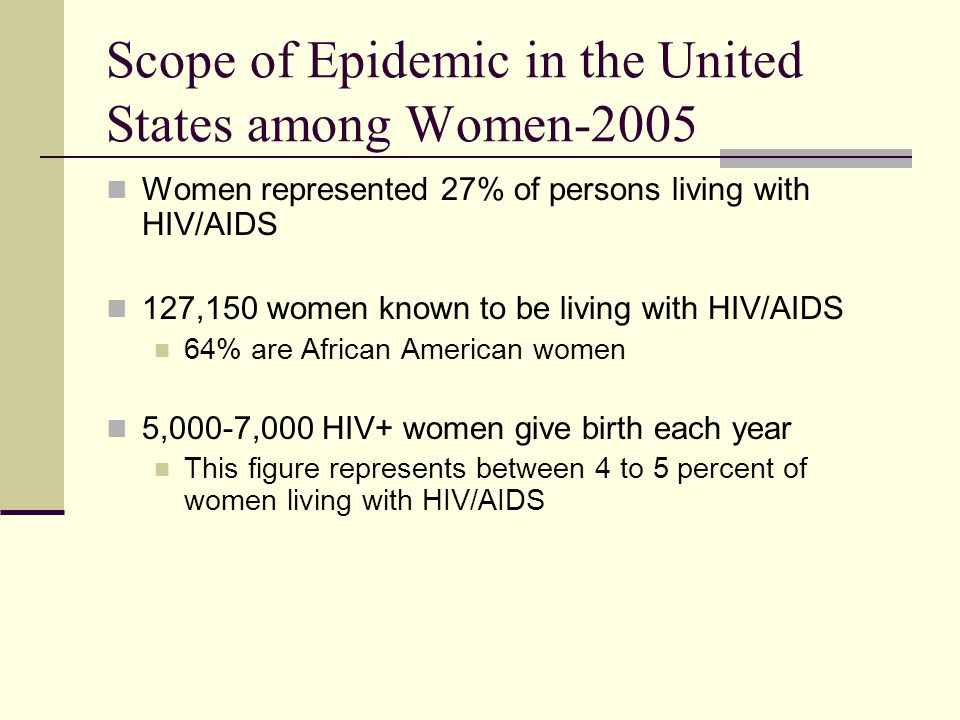 Scope of Epidemic in the United States among Women-2005 Women represented 27% of persons living with HIV/AIDS 127,150 women known to be living with HIV/AIDS 64% are African American women 5,000-7,000 HIV+ women give birth each year This figure represents between 4 to 5 percent of women living with HIV/AIDS
