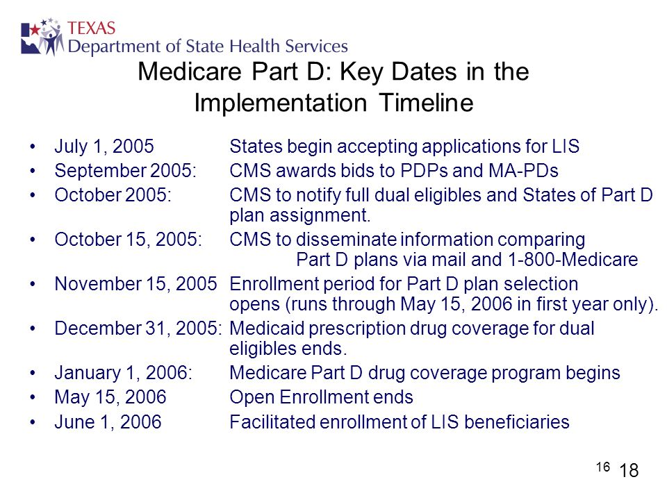 16 Medicare Part D: Key Dates in the Implementation Timeline July 1, 2005 States begin accepting applications for LIS September 2005: CMS awards bids
