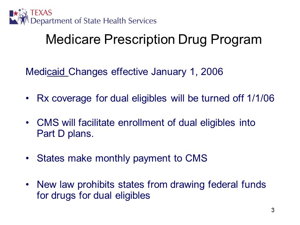 3 Medicare Prescription Drug Program Medicaid Changes effective January 1, 2006 Rx coverage for dual eligibles will be turned off 1/1/06 CMS will facilitate enrollment of dual eligibles into Part D plans.
