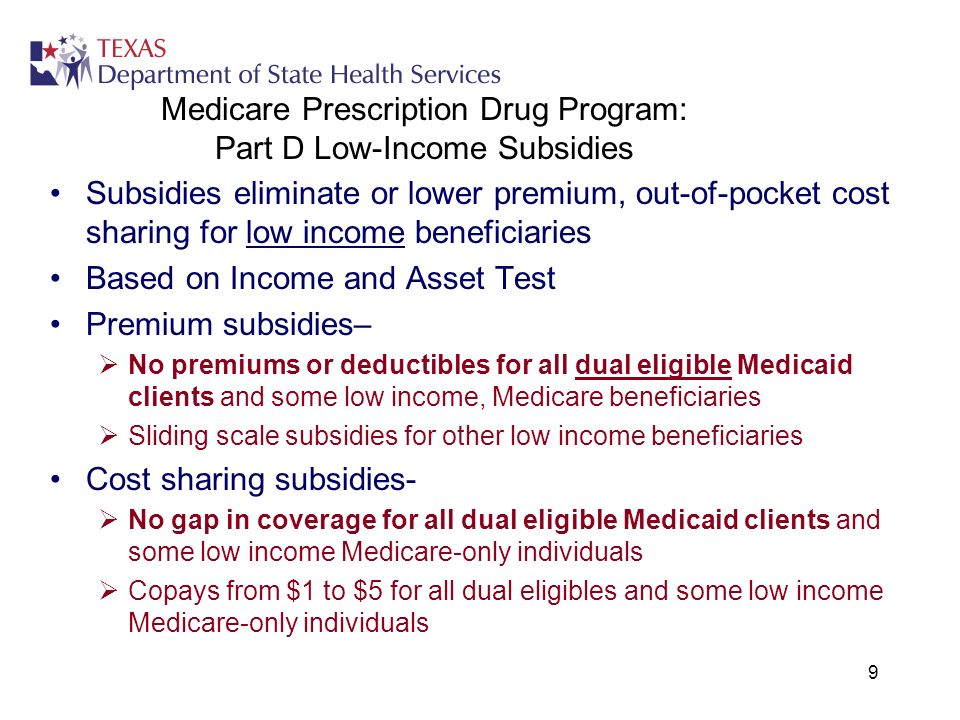 9 Medicare Prescription Drug Program: Part D Low-Income Subsidies Subsidies eliminate or lower premium, out-of-pocket cost sharing for low income beneficiaries Based on Income and Asset Test Premium subsidies– No premiums or deductibles for all dual eligible Medicaid clients and some low income, Medicare beneficiaries Sliding scale subsidies for other low income beneficiaries Cost sharing subsidies- No gap in coverage for all dual eligible Medicaid clients and some low income Medicare-only individuals Copays from $1 to $5 for all dual eligibles and some low income Medicare-only individuals